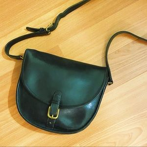 Vintage 1970s black leather Coach saddlebag purse